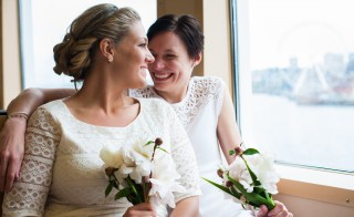Lesbian, Gay, Same-sex Wedding/marriage. Photo by Getty Images and  Molly Landreth.