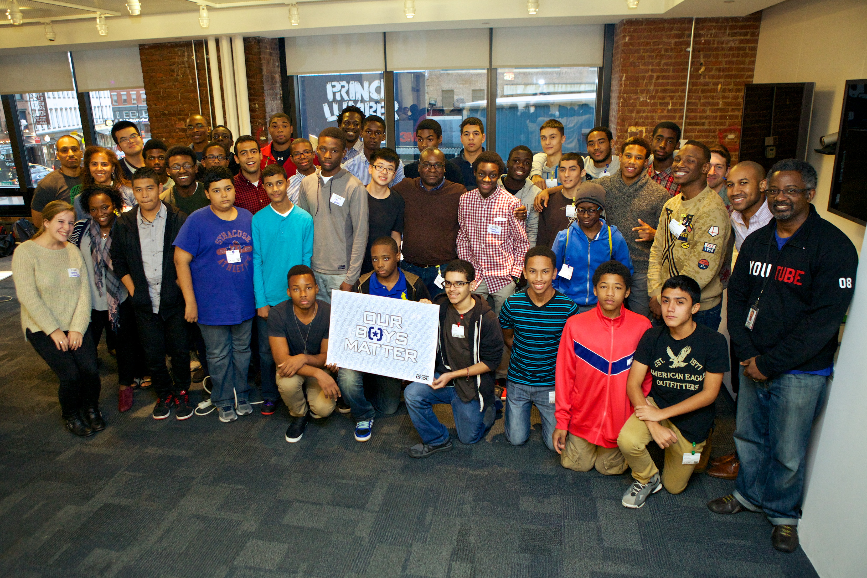 Mitchell with All Star Code students at Google's Design a Startup in a Day workshop in 2013. Photo courtesy of All Star Code.