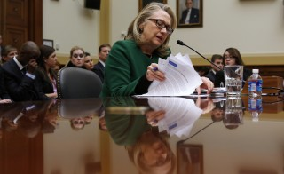 Then-Secretary of State Hillary Clinton testifies on the attack on U.S. diplomatic sites in Benghazi, Libya during a House Foreign Affairs committee hearing, Washington, D.C., January 23, 2013. Clinton is set to testify about the Benghazi attacks again Oct. 22, her presidential campaign said Saturday. Photo by Kevin Lamarque/Reuters