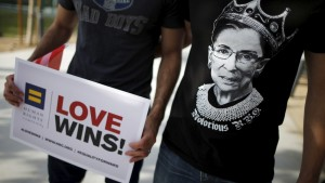 "A man wears a t-shirt showing U.S. Supreme Court Justice Ruth Bader Ginsburg as ""Notorious R.B.G."" at a celebration rally in West Hollywood, California, United States, June 26, 2015. The U.S. Supreme Court ruled on Friday that the U.S. Constitution provides same-sex couples the right to marry in a historic triumph for the American gay rights movement. REUTERS/Lucy Nicholson  - RTX1I0IG"