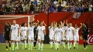 Jun 30, 2015; Montreal, Quebec, CAN; United States team members wave to the crowd after the semifinals against Germany in the FIFA 2015 Women's World Cup at Olympic Stadium. United States defeated Germany 2-0. Mandatory Credit: Jean-Yves Ahern-USA TODAY Sports - RTX1IIMN