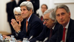 U.S. Secretary of State John Kerry  meets with foreign ministers of Germany, France, China, Britain, Russia and the European Union during the Iran Talks meetings at a hotel in Vienna, Austria July 7, 2015. A dispute over U.N. sanctions on Iran's ballistic missile programme and a broader arms embargo were among issues holding up a nuclear deal between Tehran and six world powers on Monday, the day before their latest self-imposed deadline.  REUTERS/Carlos Barria  - RTX1JDBM