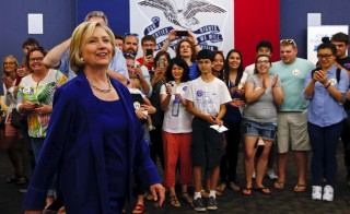 U.S. Democratic presidential candidate Hillary Clinton arrives to speak to the media after a campaign event in Iowa City, Iowa, United States, July 7, 2015. Clinton is the first 2016 presidential candidate to receive the endorsement of a major labor union. Photo by Jim Young/Reuters