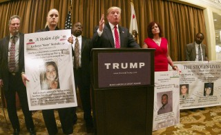 GOP presidential candidate Donald Trump discusses undocumented immigrants at a news conference in Beverly Hills, California, July 10, 2015. Trump is scheduled to speak Saturday in Phoenix, Arizona, where the candidate's positions on immigration have divided local GOP leaders. Photo by Jonathan Alcorn/Reuters