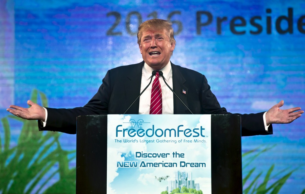 Republican Presidential candidate Donald Trump speaks at the 2015 FreedomFest in Las Vegas, Nevada on July 11, 2015. Trump's controversial remarks on the campaign trail have continued to draw the enmity of his GOP rivals. Photo by L.E. Baskow/Reuters