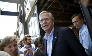Republican presidential candidate Jeb Bush departs following an appearance at Thumbtack, a consumer service connecting experienced professionals, in San Francisco, California July 16, 2015. REUTERS/Robert Galbraith - RTX1KL7G