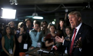 U.S. Republican presidential candidate Donald Trump speaks at a news conference at the Family Leadership Summit in Ames, Iowa on July 18, 2015. Photo by Jim Young/Reuters