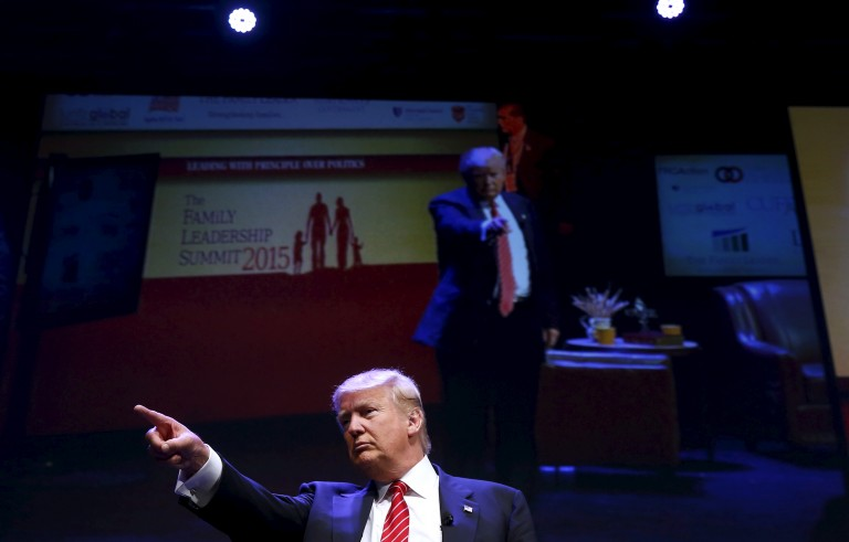 U.S. Republican presidential candidate Donald Trump attends the Family Leadership Summit in Ames, Iowa, United States on July 18, 2015. Trump has been speaking out against his contenders, with Walker being the latest target. Photo by Jim Young/Reuters