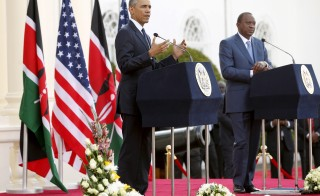 President Barack Obama and Kenya's President Uhuru Kenyatta hold a joint news conference in Nairobi, July 25, 2015. Obama encouraged African nations to treat gays and lesbians equally under the law Saturday. Photo by Jonathan Ernst/Reuters