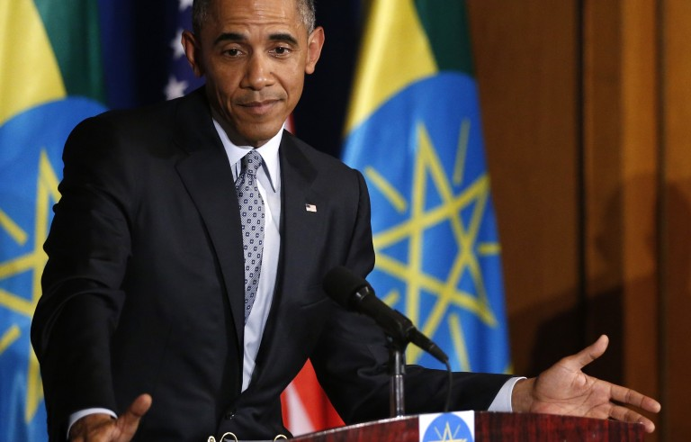 U.S. President Barack Obama comments on recent statements by Republicans as he and Ethiopia's Prime Minister Hailemariam Desalegn hold a news conference after their meeting at the National Palace in Addis Ababa, Ethiopia July 27, 2015. Photo by Jonathan Ernst/Reuters