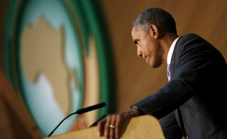 President Barack Obama delivers remarks at the African Union in Addis Ababa, Ethiopia July 28, 2015. Photo by Jonathan Ernst/Reuters