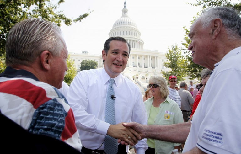 "U.S. Senator Ted Cruz (R-TX) (C) greets attendees as he arrives to speak at the Tea Party Patriots ""Exempt America from Obamacare"" rally on the west lawn of the U.S. Capitol in Washington in this September 10, 2013 file photo. Cruz's presidential campaign reported on Sunday that he has raised more than $14 million in donations since officially launching his bid just over three months ago. Jonathan Ernst/Files/Reuters"