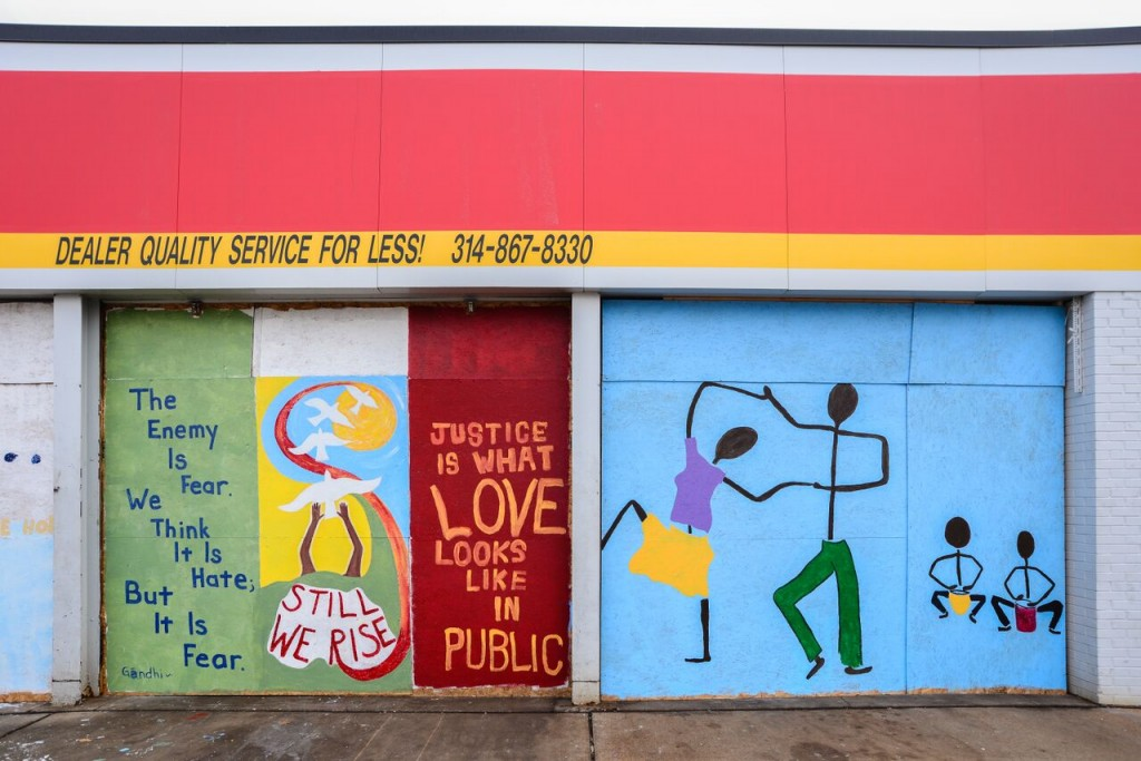 Ferguson paintings on boarded-up windows
