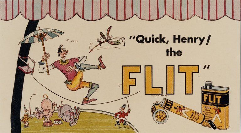 A Flit bug spray advertisement proof, between 1930 and 1940. Image courtesy of  Special Collection & Archives, UC San Diego Library
