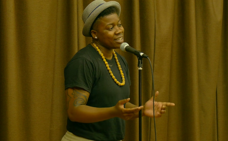 "Janae Johnson performs her poem ""Magic."" Image courtesy of SlamFind."