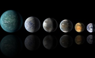 A newly discovered exoplanet, Kepler-452b, comes the closest of any found so far to matching our Earth-sun system. This artist's conception of a planetary lineup shows habitable-zone planets with similarities to Earth: from left, Kepler-22b, Kepler-69c, the just announced Kepler-452b, Kepler-62f and Kepler-186f. Last in line is Earth itself. Illustration by NASA/Ames/JPL-Caltech