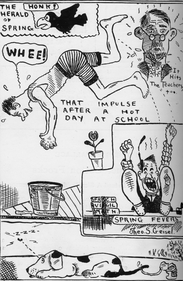 An early cartoon from Geisel in 1920 that was published in The Central Recorder, a newspaper of Central High School in Springfield. Image courtesy of Wood Museum of Springfield History Archives, Springfield Museums