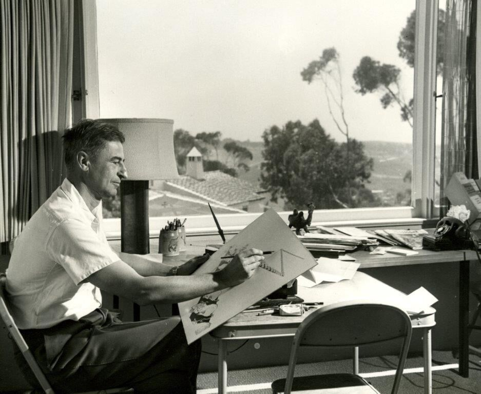 Seuss at his drawing table. Photo courtesy of Elizabeth N. Cahill