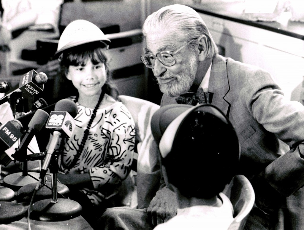 """Theodor """"Ted"""" Seuss Geisel, better known as Dr. Seuss, on his last visit to his hometown of Springfield, Massachusetts in 1986. Photo courtesy of Springfield Union-News"""