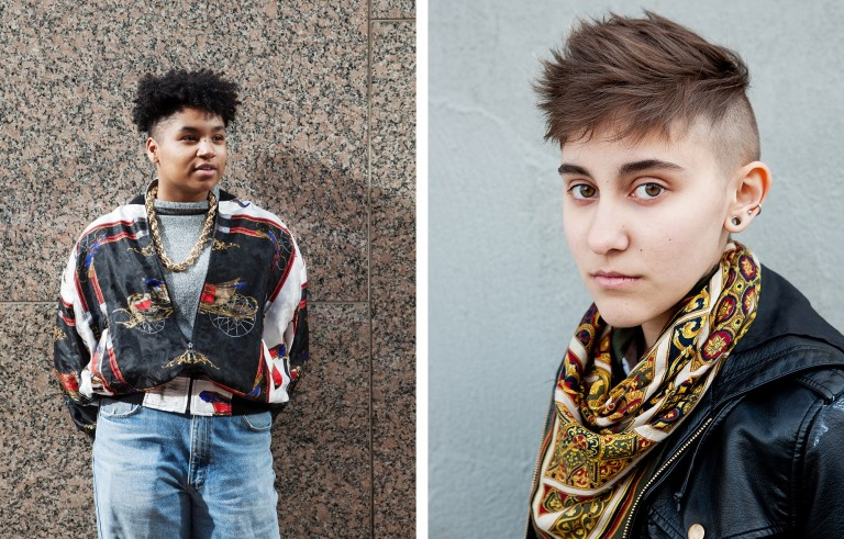 """Zeam (left, age 17, Minneapolis, MN) and Mars (right, age 18, Brooklyn, NY) pose for """"We Are the Youth,"""" a photo essay documenting the stories of LGBTQ youth. Photos by Laurel Golio"""