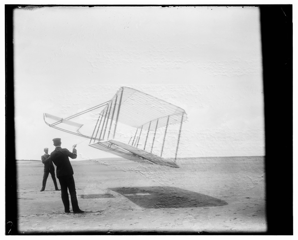 Wilbur (left) and Orville flying their 1901 glider as a kite. Courtesy of David McCullough/The Wright Brothers/Simon & Schuster