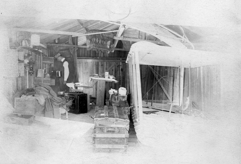 Camp interior in 1902 with glider at right in foreground. Courtesy of David McCullough/The Wright Brothers/Simon & Schuster