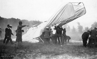 Orville Wright kept flying even after this crash on September 17, 1908 almost took his life. Courtesy of David McCullough/The Wright Brothers/Simon & Schuster