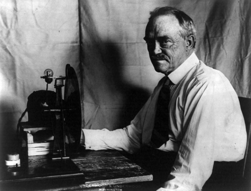 Charles Francis Jenkins, the first American to produce a TV picture, as well as the inventor of the first motion picture projector, is seen here in 1928. Jenkins was born 148 years ago on Aug. 22. Photo by Underwood & Underwood from the Library of Congress