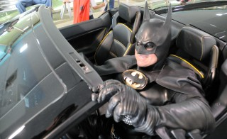 Lenny Robinson in the Batmobile at the annual Hope for Henry Superhero Celebration for kids at Children's National Medical Center (Children's Hospital) in Washington, D.C. Photo courtesy of Hope for Henry