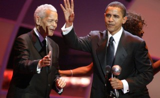 Julian Bond and President Barack Obama during The 36th Annual NAACP Image Awards in Los Angeles. Photo by Jesse Grant/WireImage).