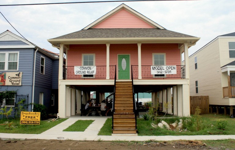 A house rebuilt and elevated according to new flood rules stands in New Orleans' Lower Ninth Ward in Louisiana, in August 2010. Photo by James S. Russell/Bloomberg via Getty Images