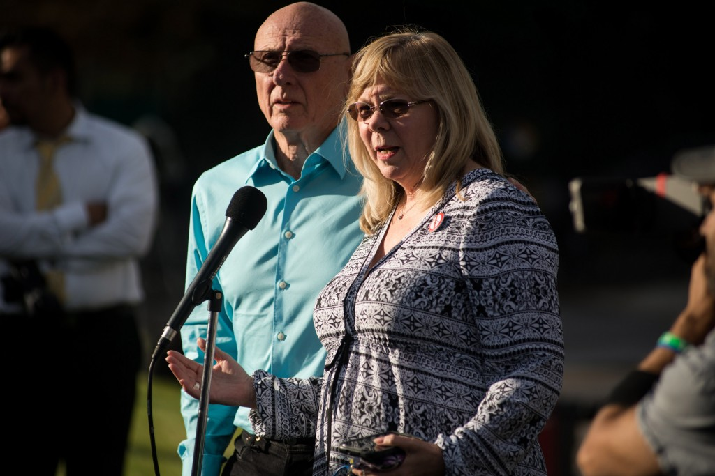 Lonnie and Sandy Phillips, the parents of shooting victim Jessica Ghawi, speak after a verdict was delivered in the trial of James Holmes at the Arapahoe County Justice Center on July 16, 2015 in Centennial, Colorado. Photo by Theo Stroomer/Getty Images.