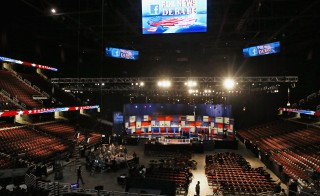 The finishing touches are made to the stage for the Republican presidential debate at The Quicken Loans Arena Aug. 6, 2015, in Cleveland, Ohio. This is the first debate of the 2016 presidential campaign season. Photo by Chip Somodevilla/Getty Images