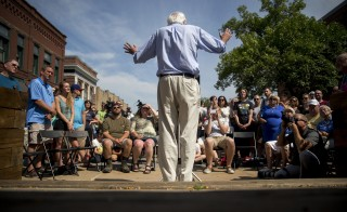 Senator Bernie Sanders, an independent from Vermont and 2016 Democratic presidential candidate, speaks during a campaign stop in Marion, Iowa, U.S., on Sunday, Aug. 16, 2015. Democratic presidential candidate Sanders said this week his campaign has received more individual donations than any of his rivals. Photographer: Andrew Harrer/Bloomberg via Getty Images