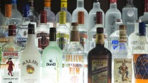 Various bottles of US and international spirits