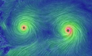Typhoons Goni and Atsani. Photo by earth.nullschool.net