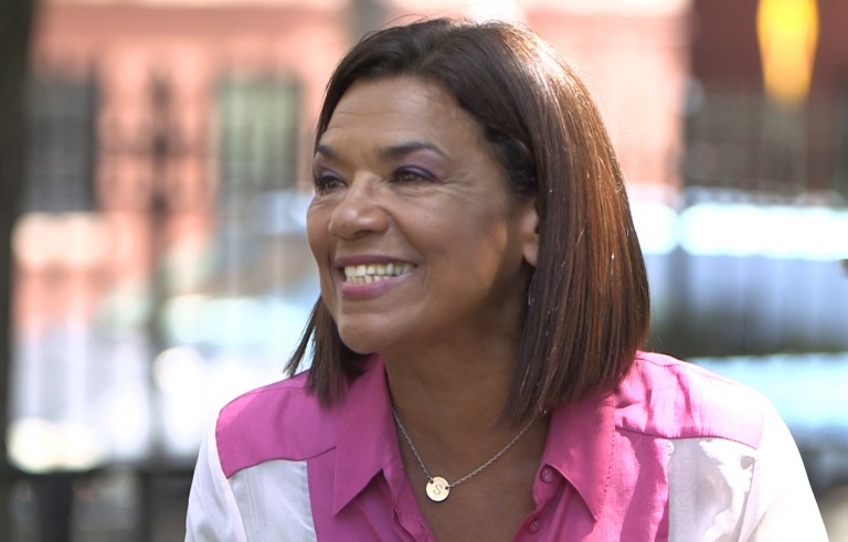 Sonia Manzano during an interview with Jeffrey Brown. Photo by Frank Carlson