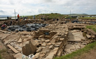 Activity in the trenches at the Ness of Brodgar dig site. Excavation this year was extended to 8 weeks with funding from an anonymous donor. Photo by Robert Scarth