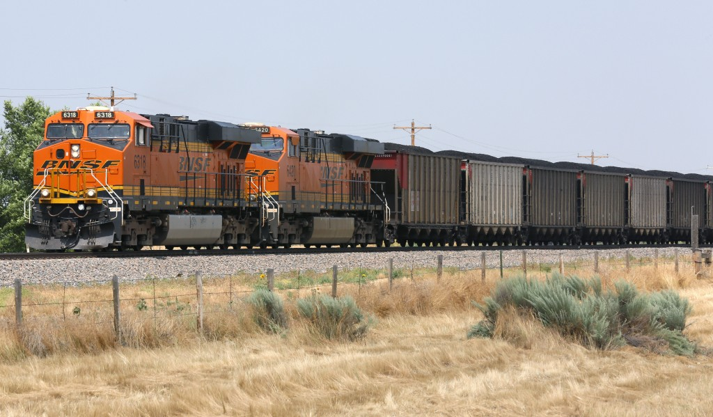 A Burlington Northern Santa Fe (BNSF) coal train arrives in Ft. Laramie, Wyoming July 15, 2014. Photo by Rick Wilking/Reuters