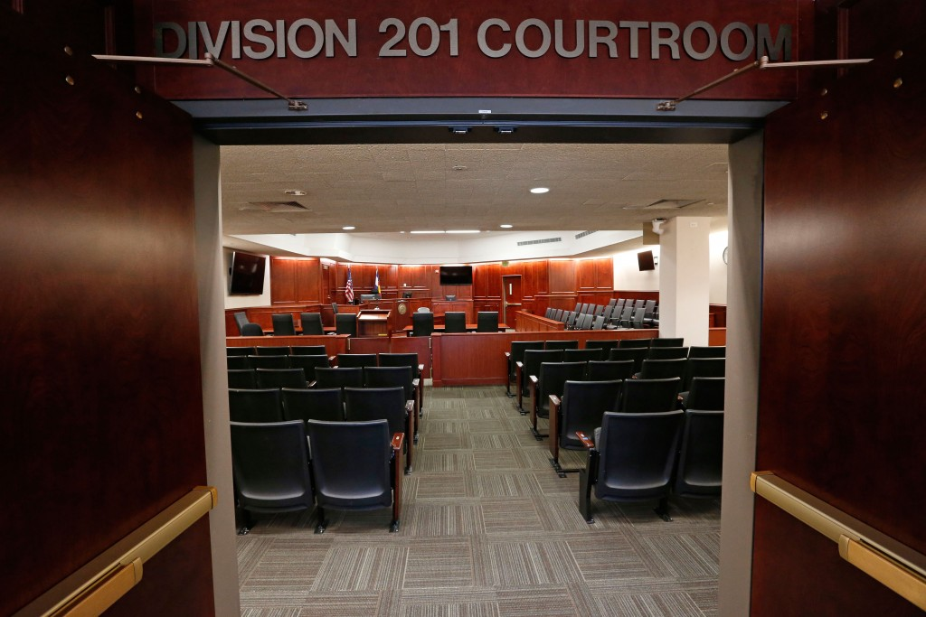 A view inside Courtroom 201, where jury selection in the trial of Aurora movie theater shootings defendant James Holmes is to begin on Jan. 20, 2015, at the Arapahoe County District Court in Centennial, Colorado,  January 15, 2015. Jury selection is expected to take several weeks to a few months.  REUTERS/Brennan Linsley/Pool  (UNITED STATES - Tags: CRIME LAW) - RTR4LLZP