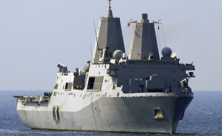 The amphibious transport dock ship USS San Antonio in the Gulf of Oman, February 4, 2009. The USS San Antonio has been used for the transportation and interrogation of suspected militants, a practice that is facing legal challenge in the case of Ahmed Abu Khattala. Photo by U.S. Navy handout/Reuters