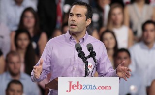 George P. Bush delivers an introductory speech for his father, former Florida Governor Jeb Bush, in Miami, Florida on June 15, 2015. George P. Bush has been active in his father's 2016 campaign, and is seen as a rising GOP star himself. Photo by Joe Skipper/Reuters
