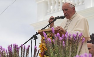 Pope Francis addresses the audience at the National Shrine of Our Lady of the Presentation of El Quinche in El Quinche, Ecuador, on July 8. Photo by Guillermo Granja/Reuters
