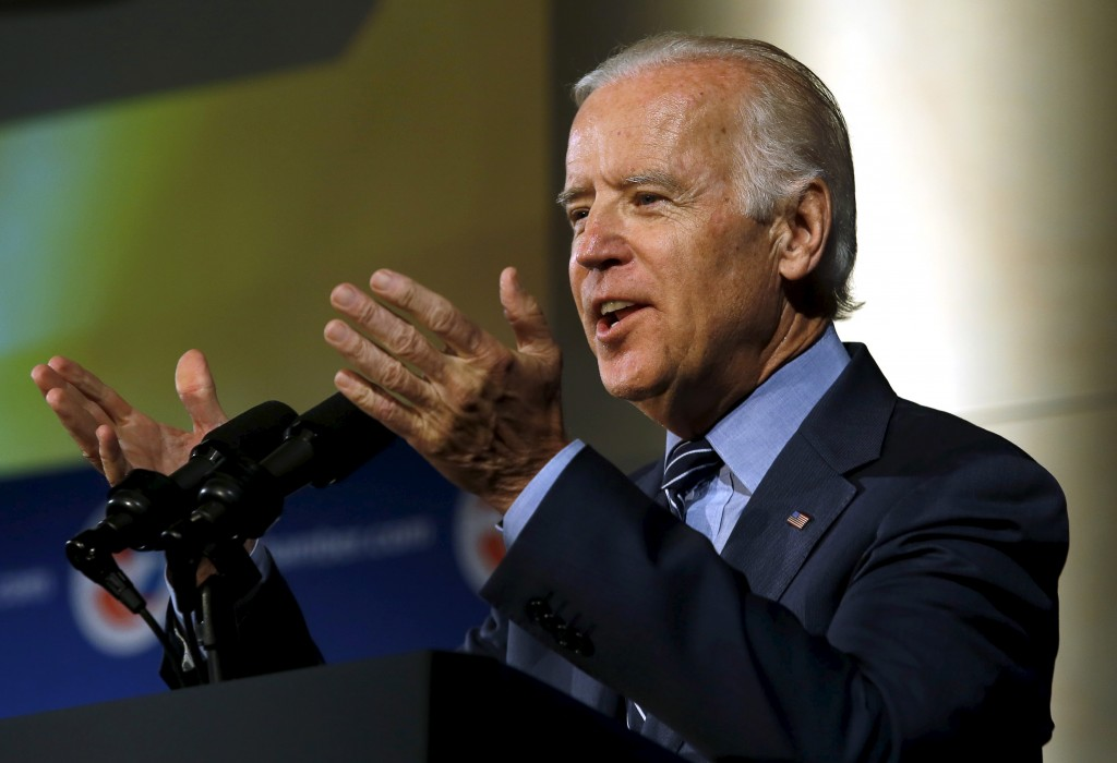 Vice President Joe Biden delivers remarks at the U.S.-Ukraine Business Forum in Washington July 13, 2015. The New York Times reported Saturday that Biden is actively considering running for president.  Photo by Yuri Gripas/Reuters