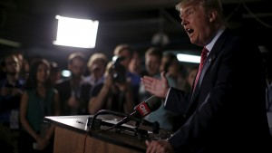 U.S. Republican presidential candidate Donald Trump speaks at a news conference at the Family Leadership Summit in Ames, Iowa, United States, July 18, 2015. REUTERS/Jim Young   - RTX1KU8D