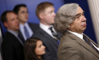 Energy Secretary Ernest Moniz (R) at the daily press briefing at the White House, July 31, 2015. The Obama administration intensified efforts this week to beat back criticism of the Iran nuclear deal and garner the support for the deal among Democrats in Congress.  Photo by Jonathan Ernst/Reuters