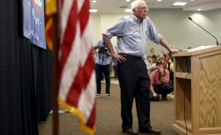 Vermont Senator and Democratic presidential candidate Bernie Sanders at a campaign town hall event in Manchester, New Hampshire, August 1, 2015. On Saturday, hours after being upstaged by demonstrators at a different event, Sanders spoke to a crowd at the University of Washington about criminal justice reform and income equality. Photo by Dominick Reuter/Reuters