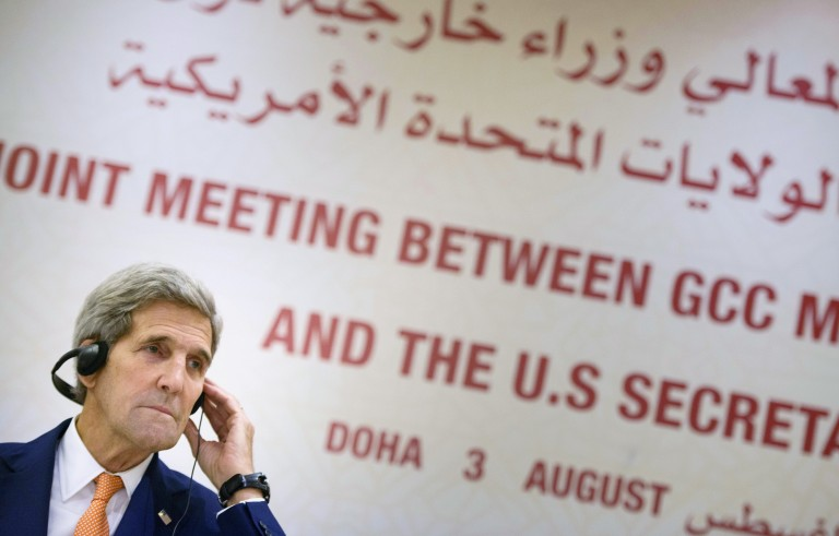 U.S. Secretary of State John Kerry speaks during a news conference following a meeting with foreign ministers of the Gulf Cooperation Council (GCC) in Doha, Qatar August 3, 2015. REUTERS/Brendan Smialowski/Pool - RTX1MVF4