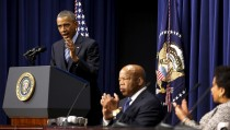 U.S. President Barack Obama (L-R), Representative John Lewis (D-GA) and Attorney General Loretta Lynch participate in a conference to commemorate the 50th anniversary of the Voting Rights Act at the White House in Washington August 6, 2015.  REUTERS/Jonathan Ernst - RTX1NDA9
