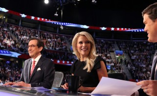Fox News host Megyn Kelly, center, at the first official Republican presidential candidates debate in early August, regularly has been a target of criticism by Republican presidential candidate Donald Trump. Photo by Aaron Josefczyk/Reuters